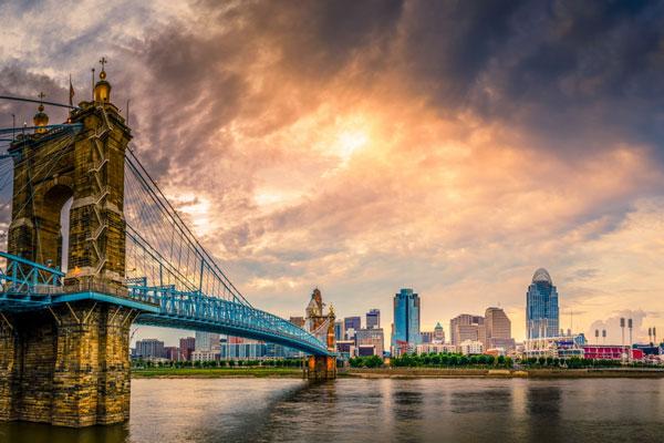 View of Cincinnati from Northern Kentucky with Roebling Bridge